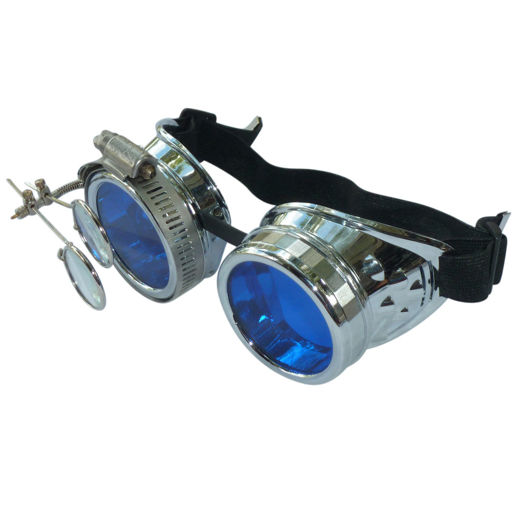 Chrome Goggles: Blue Lenses w/ Eye Loupe