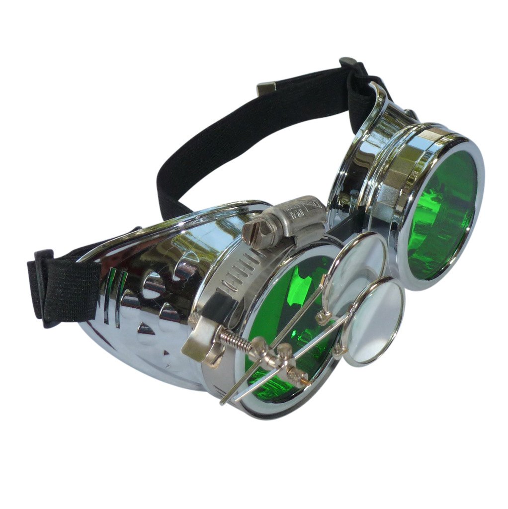 Chrome Goggles: Green Lenses w/ Eye Loupe