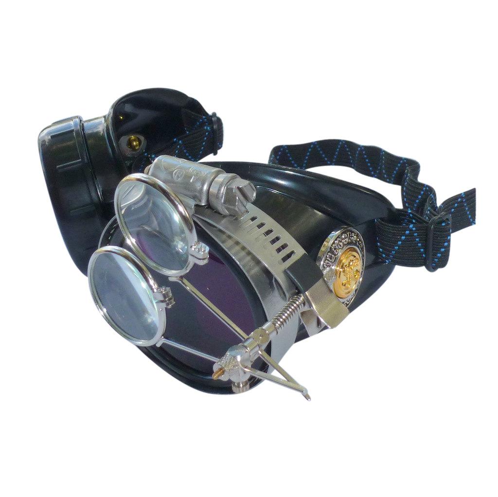 Black Goggles: Dark Purple Lenses w/ Golden Ornaments & Eye Loupe