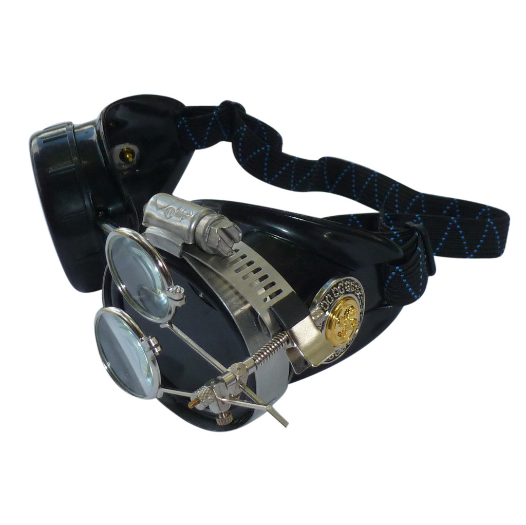 Black Goggles: Dark Lenses w/ Golden Ornaments & Eye Loupe
