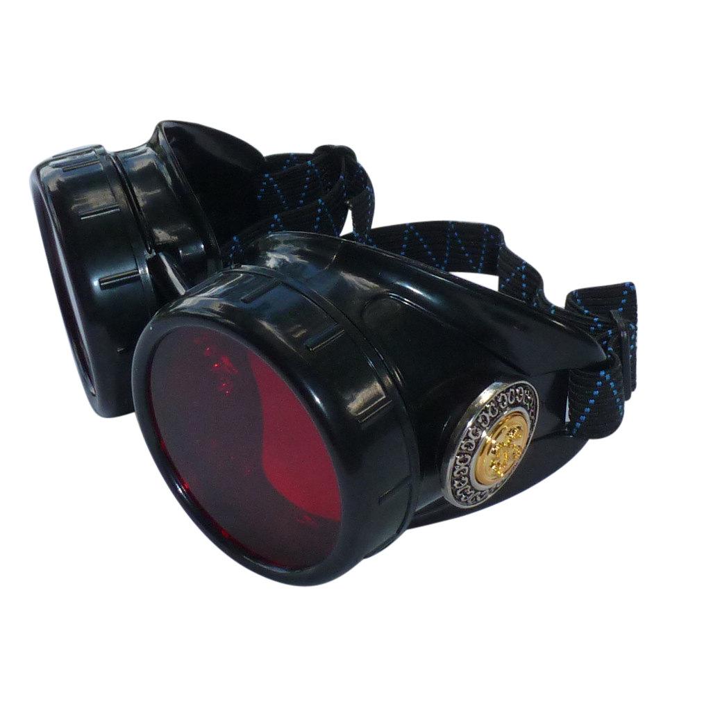 Black Goggles: Red Lenses w/ Golden Ornaments