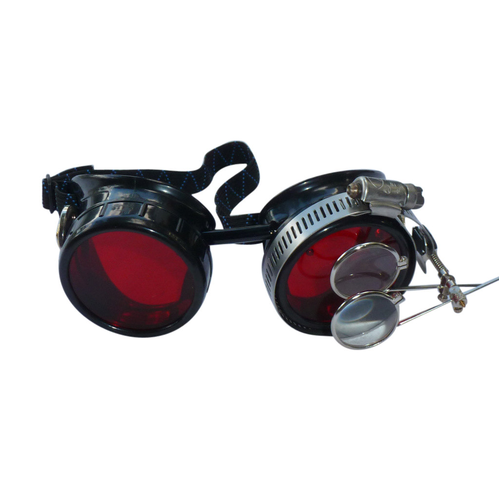 Black Goggles: Red Lenses w/ Golden Ornaments & Eye Loupe