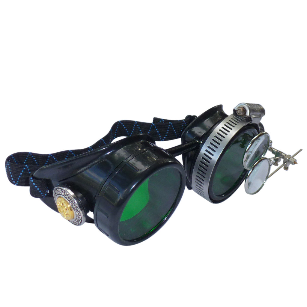 Black Goggles: Green Lenses w/ Golden Ornaments & Eye Loupe
