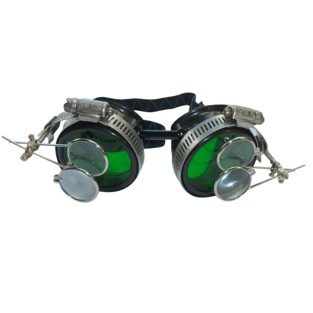 Black Goggles: Green Lenses w/ Golden Ornaments & Two Eye Loupe