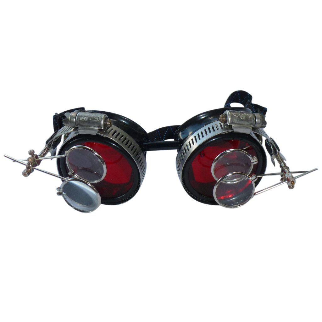 Black Goggles: Red Lenses w/ Golden Ornaments & Two Eye Loupes