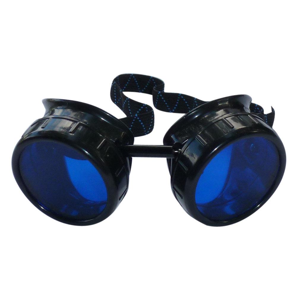 Black Goggles: Blue Lenses w/ Golden Ornaments