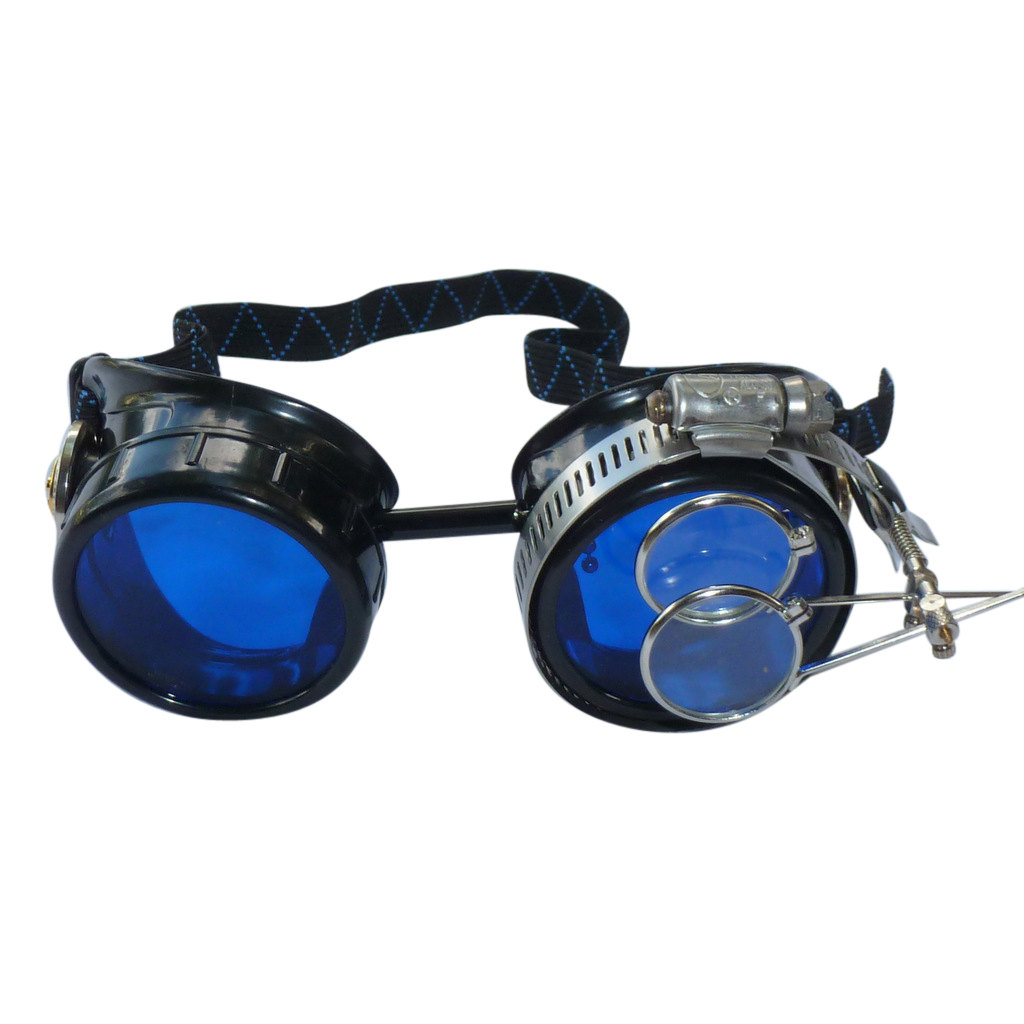 Black Goggles: Blue Lenses w/ Golden Ornaments & Eye Loupe