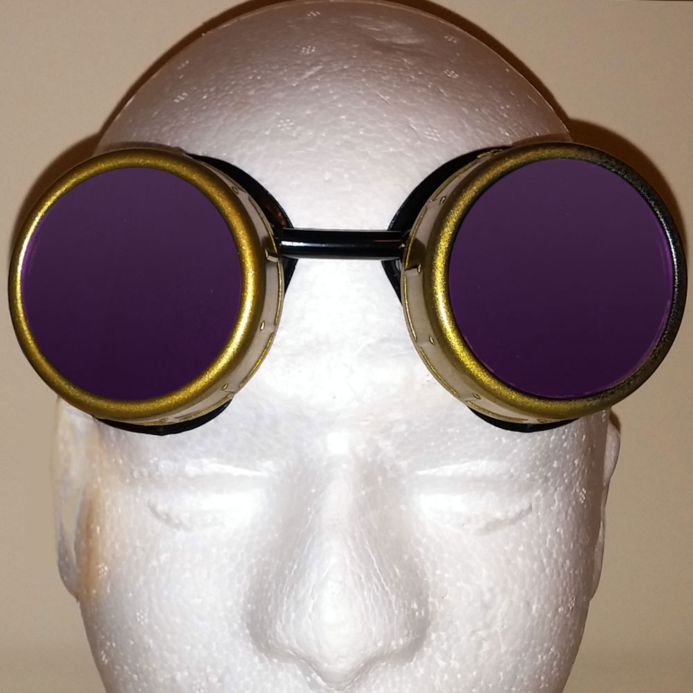 King of Steam - Crowned Goggles With Purple Lenses - Front