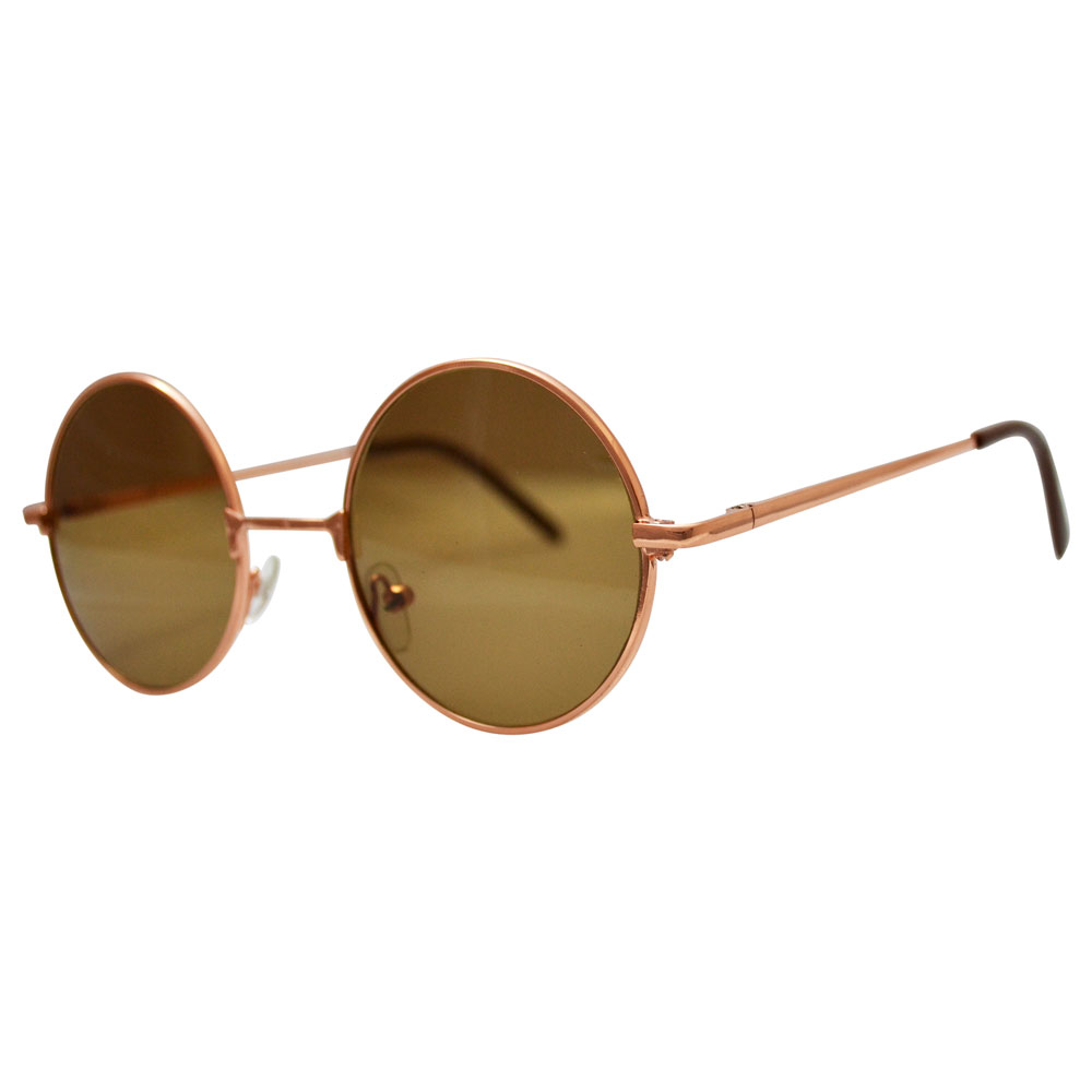 John Lennon Sunglasses - Vintage Gold Tone, Brown Lenses