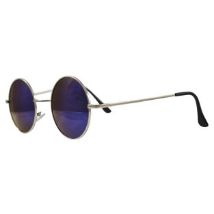 peace sunglasses with bright blue reflective lenses with silver frame & black temple covers