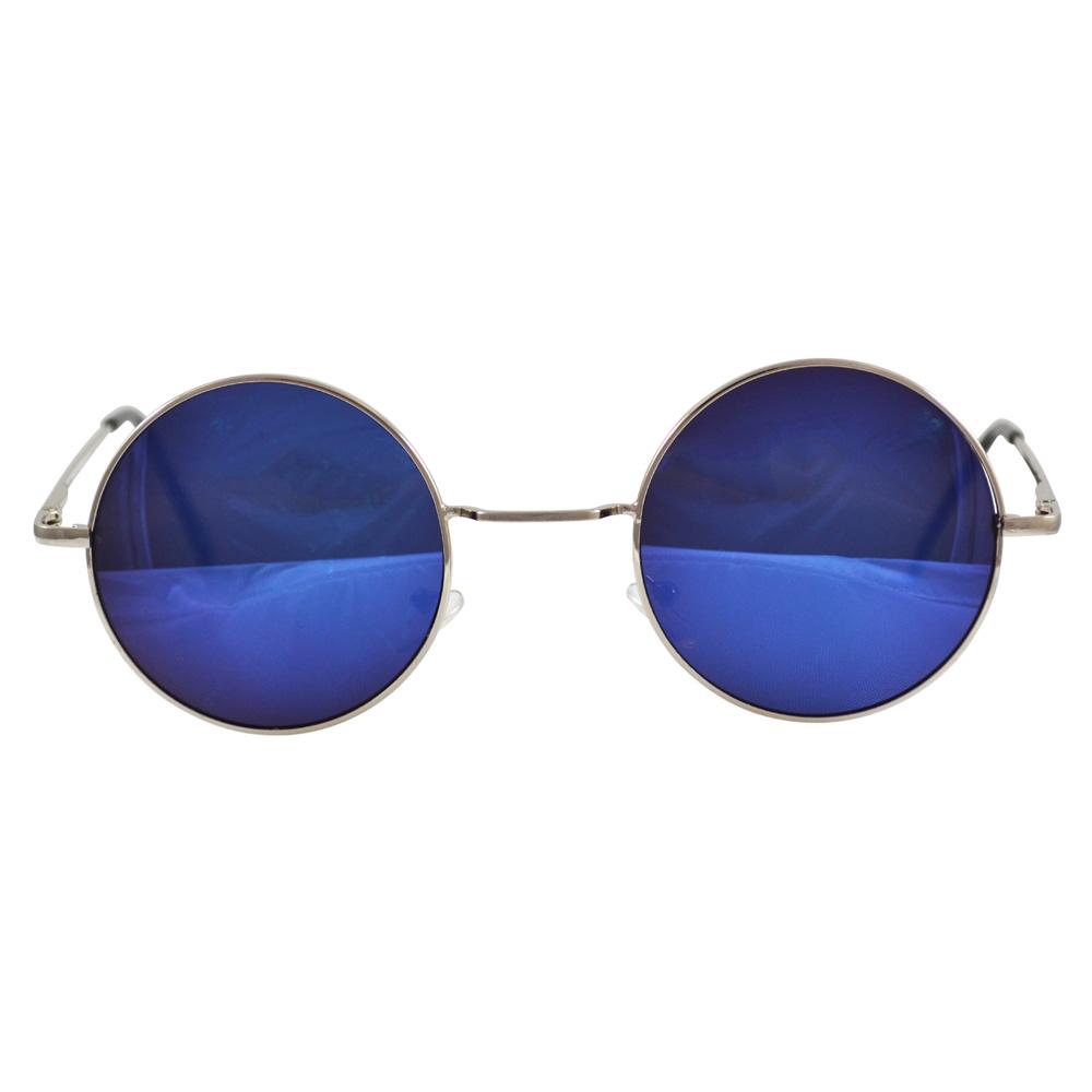 Round Peace Sunglasses Bright Blue Semi Mirrored In Silver