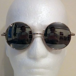 silver mirrored lenses with silver toned frame & black temple covers - front