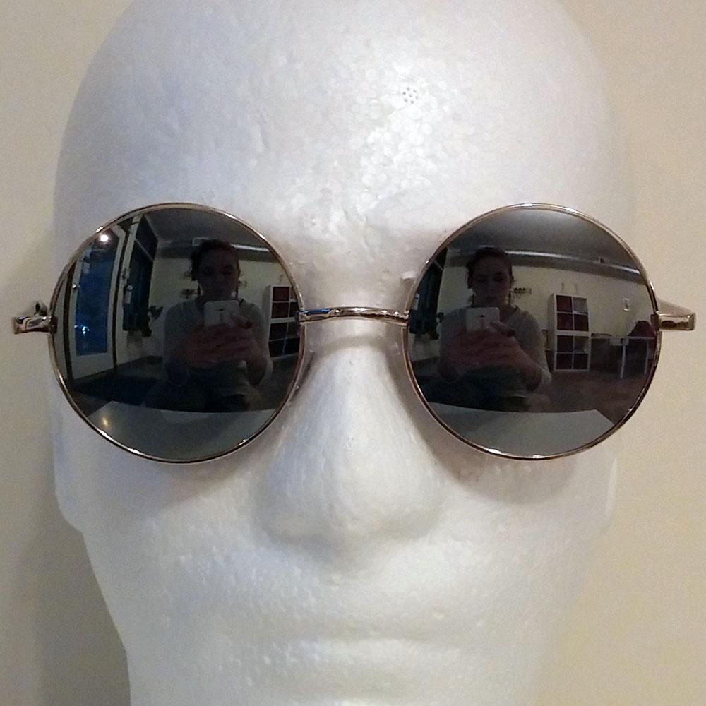 Silver Toned Mirrored Round Sunglasses
