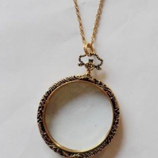 Antique Brass / Gold Monocle Necklace - Close Up