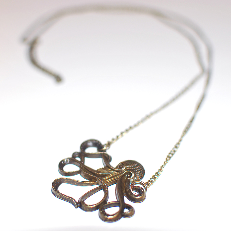 Bronze Tone Octopus Necklace