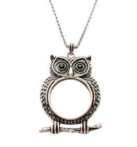 Owl Monocle Necklace - Antique Silver Tone