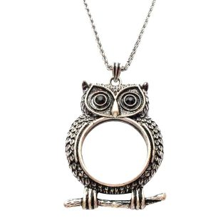 Owl Monocle Necklace - Antique Silver Tone