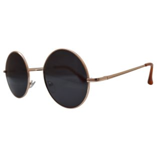 hippie peace glasses with gray lenses and golden frames & beige temple covers