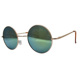 hippie peace glasses with psychadelic rainbow lenses and golden frames & beige temple covers