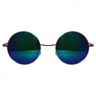 green / blue reflective lenses with silver frame & black temple covers - front