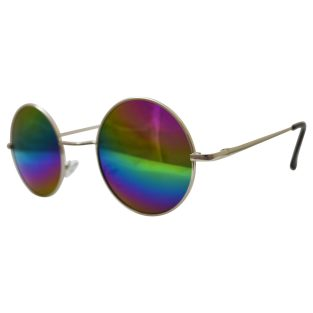 hippie peace glasses with psychadelic rainbow lenses and silver toned frames & black temple covers