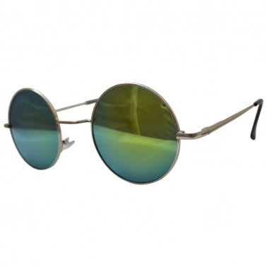 hippie peace glasses with gold / green reflective lenses with silver frames & black temple covers