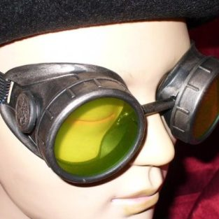 Victorian Goggles with Bright Green Lenses