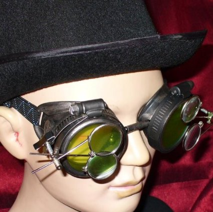 Victorian Pewter Goggles with 2x Magnifying Lenses
