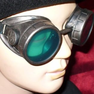 Pewter Steampunk Goggles with Green Lenses