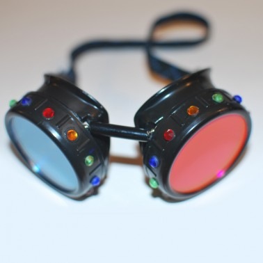 Blue & Orange Masquerade Goggles With Rhinestones