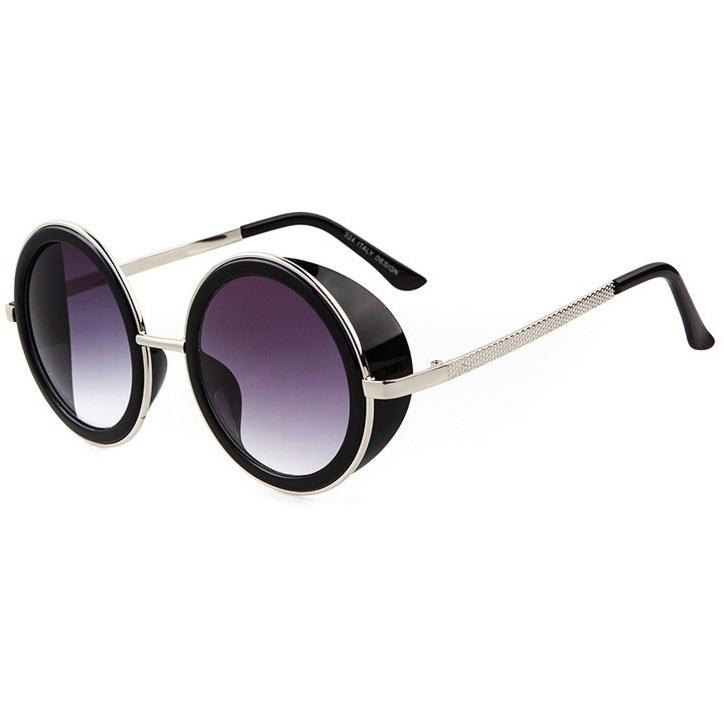 Steampunk Glasses With Purple Gradient Lenses & Silver Frames