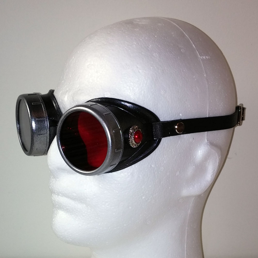 945b0f12264 Red Pearl Steampunk Goggles in Silver with Leather Strap