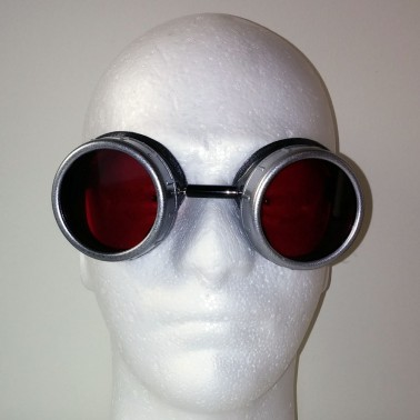 Red Pearl Goggles With Silver Eye Cups