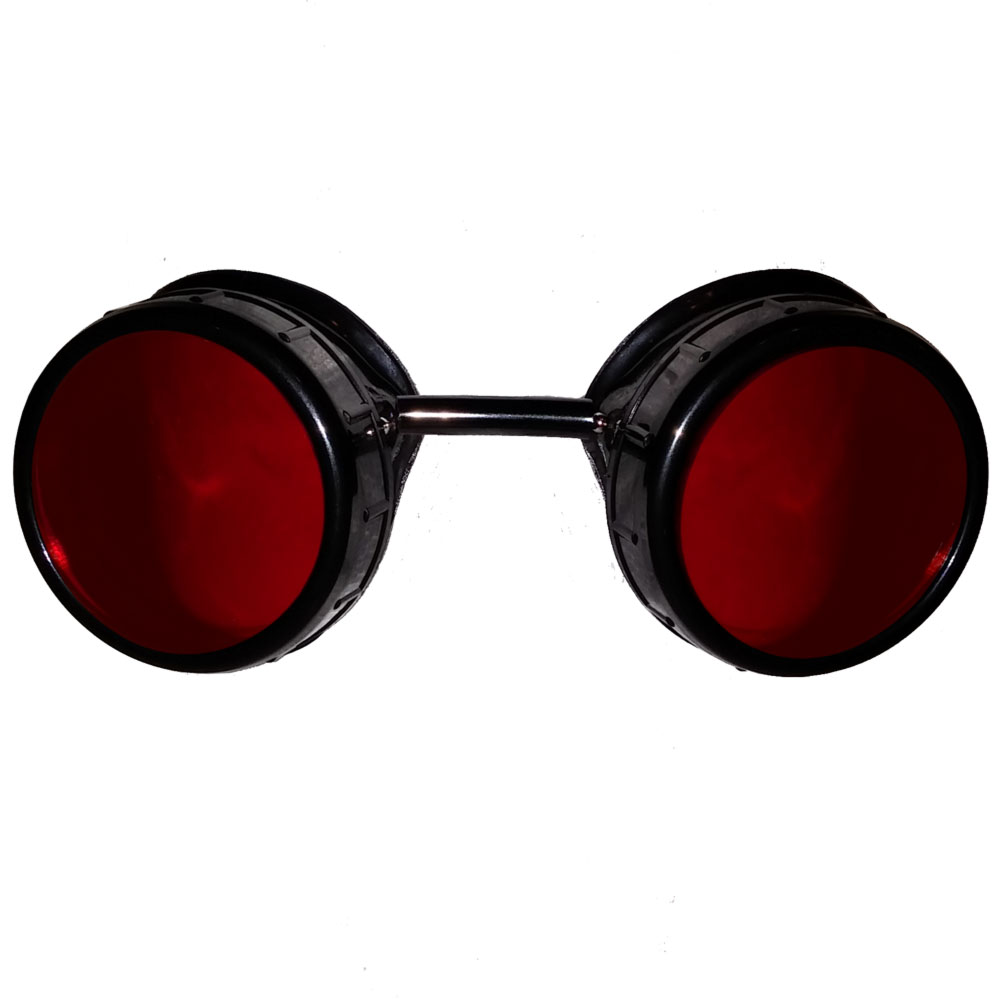 Red steampunk goggles - front