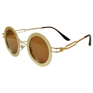 Round Steamship Construction Sunglasses With Rivets - Gold / Brown