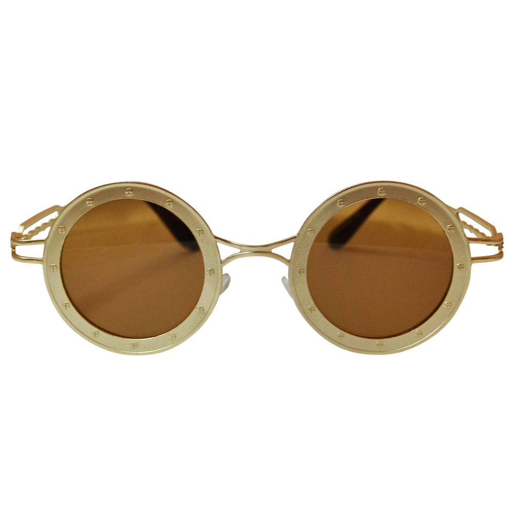 Round Steamship Construction Sunglasses With Rivets - Gold / Brown - Front