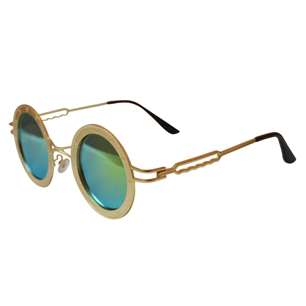Round Steamship Construction Sunglasses With Rivets - Gold / Gold - side
