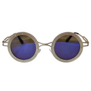 Round Steamship Construction Sunglasses With Rivets - Silver / Blue