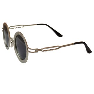 Round Steamship Construction Sunglasses With Rivets - Silver / Gray