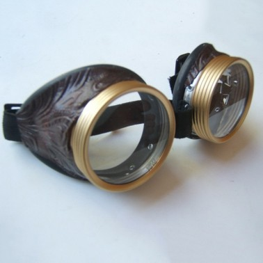 Riveted Adventurer - Brass & Leather Toned Goggles