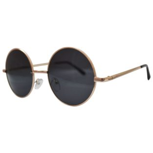 Round golden frames with gray lenses