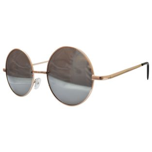 Round Sunglasses: Mirror Lenses & Gold Frames
