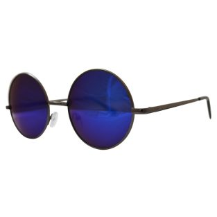 blue mirrored lenses with gunmetal gray frame & black temple covers