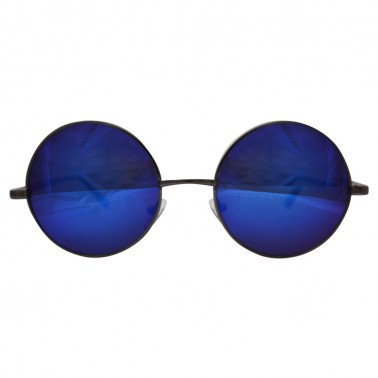 blue mirrored lenses with gunmetal gray frame & black temple covers - front