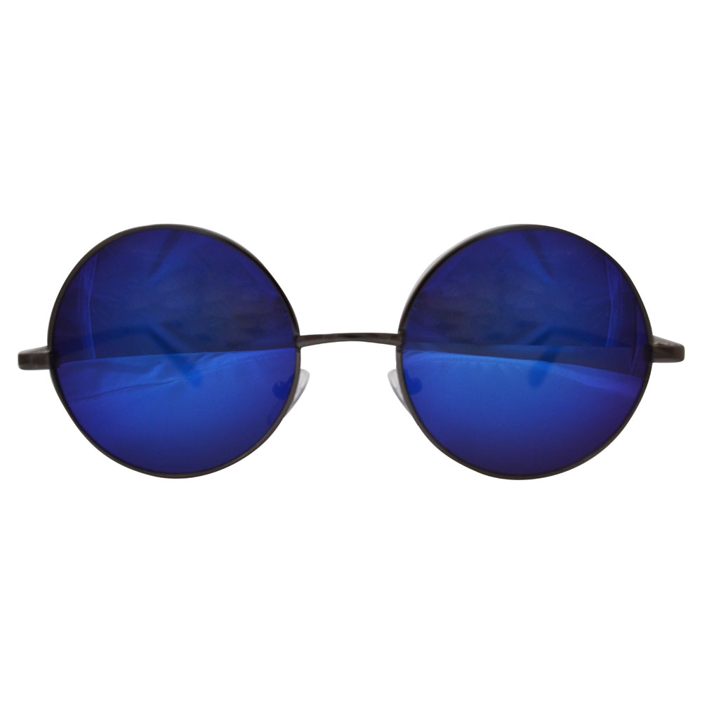 Blue Mirrored Lenses With Metal Gray Frame Black Temple Covers Front