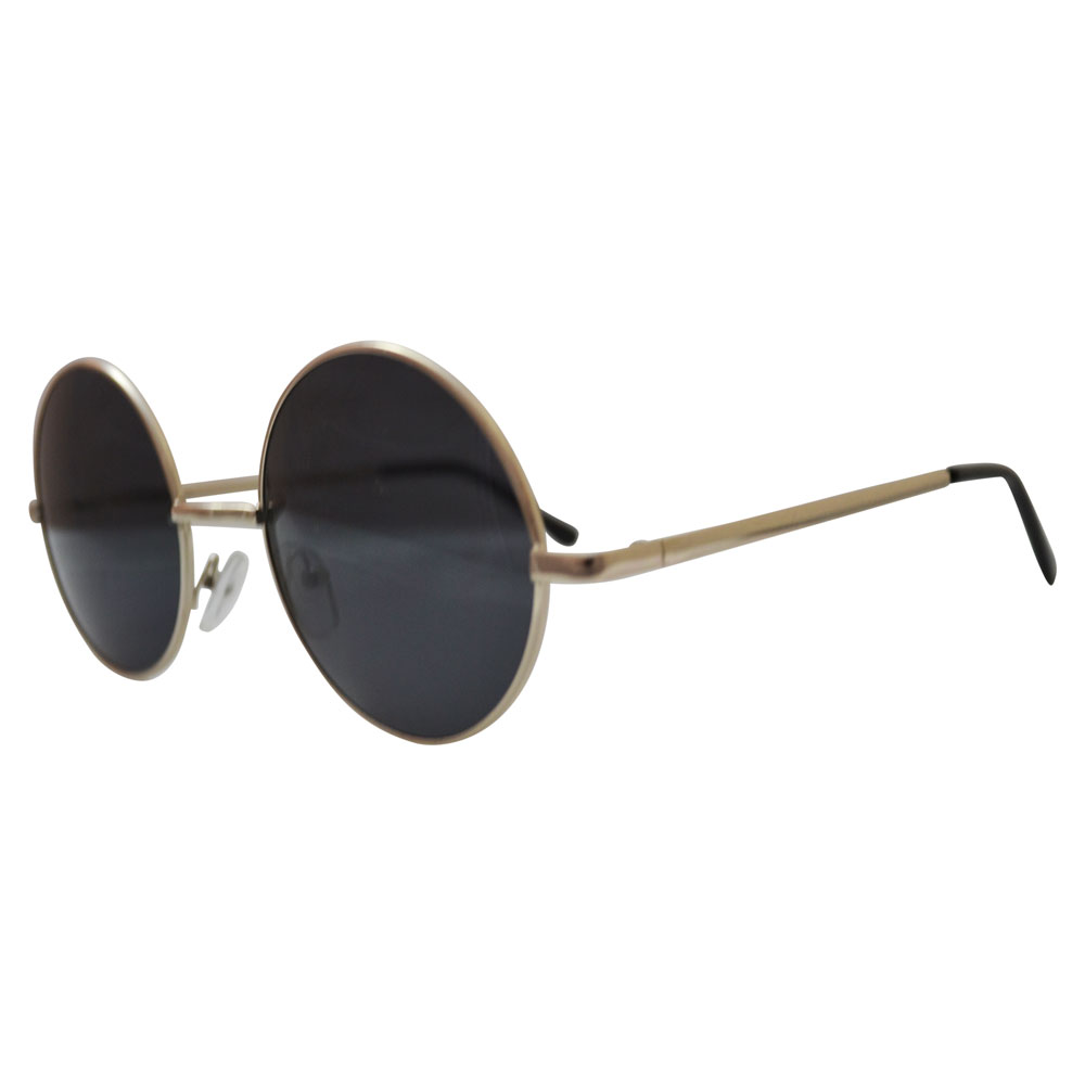 gray round sunglasses with silver toned frames