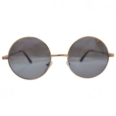 Round silver frames with gray lenses - Front