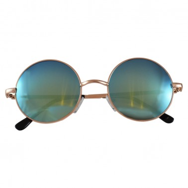 Round Aqua Blue Sunglasses With Gold Frame & Black Temple Covers