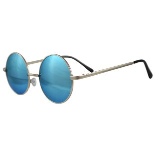 Round Aqua Blue Sunglasses: Silver Frame & Black Temple Covers