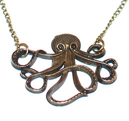 Cthulhu Necklace - Antique Bronze Tone Octopus